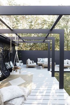 This Three Birds alfresco area is an entertainer's dream back patio furniture, outdoor seating area, outdoor living room furniture and hanging chair Modern Pergola, Pergola Patio, Backyard Patio, Pergola Kits, Black Pergola, Modern Patio, Cheap Pergola, Pergola Shade, Modern Backyard Design