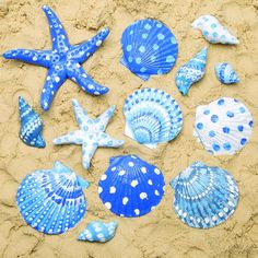 Seashell Painting, Seashell Art, Seashell Crafts, Beach Crafts, Diy Crafts For Kids, Craft Ideas, Painted Trays, Painted Shells, Painted Rocks