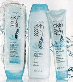 AVON  Skin So Soft   Agua Express with Watermint Oil     Body Wash , Moisturizing Gel , Hand Lotion  Www.youravon.com/rosasantana