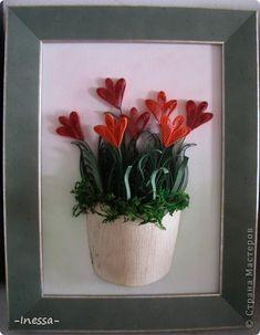 Картина, рисунок, панно Квиллинг: Хризантемы Бумажные полосы. Фото 4