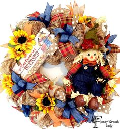 Autumn Blessings Burlap #Scarecrow Wreath #Fall by FancyWreathLady
