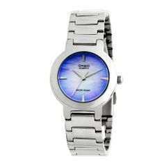 Casio Women's LTP1191A-2C Silver-Tone Purple Dial Analog Quartz Watch Casio. $20.50. Stainless-steel case; shiny purple-blue dial. Water-resistant to 99 feet (30 M). Quartz movement. Protective mineral crystal protects watch from scratches. Case diameter: 30.8 mm