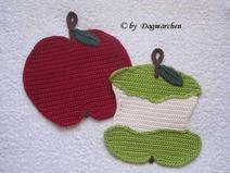 """Topflappen  """" Apfel mit Apfelgriebs """""""