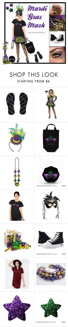 """Mardi Gras Mask by PLdesign"" by pldesign ❤ liked on Polyvore featuring Rubie's Costume Co., Wet Seal, women's clothing, women's fashion, women, female, woman, misses, juniors and MardiGras"