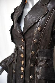 Military redingote style leather coat