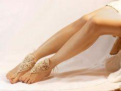 Beige Crochet Barefoot SandalsAnkletBellydanceBeach by BadHatCat