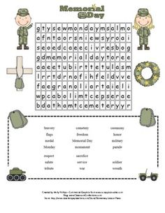 On Memorial Day, honor those that gave their lives for our freedom!It's a fun Memorial Day word search! If your students are like mine, they. Memorial Day Activities, Education Clipart, Kindergarten Readiness, Special Education Teacher, Morning Work, Just Giving, Reading Comprehension, Cool Words, Lesson Plans