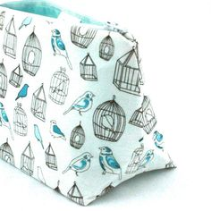 Aqua Birdcage Makeup Bag / Cosmetic Bag in White Sketch Indie Print - Gift for Her, Birthday Gift,Party Favor, Baby Shower Prize on Etsy, $11.95