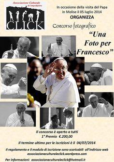 """Concorso Fotografico """"Una foto per Francesco"""" in occasione della visita del Papa in Molise"""
