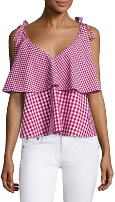 Prose & Poetry Women's Brett Tiered Ruffled Gingham Cotton Cropped Top