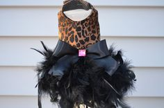 Diva Leopard Feather Dog Harness Dress by KOCouture on Etsy dog, dog dress, pet fashion, yorkie, chihuahua, leopard, animal print, puppy, small dog, harness, feather, rhinestone, pet clothing