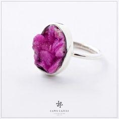 Drusy cobalt calcite in sterling silver. Cobalt, Gemstone Rings, Gemstones, Sterling Silver, Floral, Jewelry, Jewlery, Bijoux, Florals
