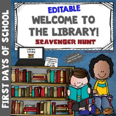 An EDITABLE beginning of the school year scavenger hunt! A fun and exciting way to let students explore and learn about their library! School Library Lessons, Library Lesson Plans, Elementary School Library, Library Skills, Library Posters, Library Books, Library Ideas, Library Scavenger Hunts, Library Orientation
