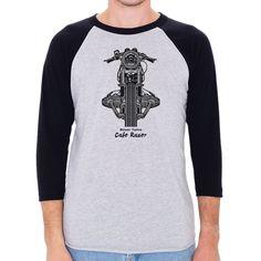 BMW Boxer Twins Cafe Racer Men's 3/4 Sleeve, Baseball Shirt