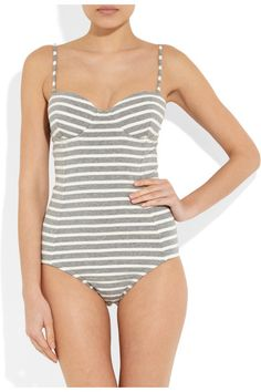 Grey and white striped stretch-cotton Removable shoulder straps, lightly padded cups, underwired, fully lined Slips on 91% cotton, 9% spandex Hand wash