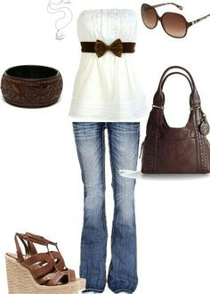 Womens casual outfit, tube top, jeans, wood jewelry. Add more bracelets and I'm thinking gold instead of silver