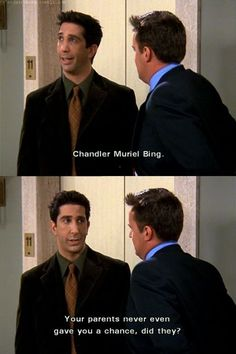 haha, aw poor Chandler Muriel Bing :P Friends Tv Show, Tv: Friends, Serie Friends, Friends Moments, I Love My Friends, Friends Forever, Friends Episodes, Funny Friends, Ross Geller