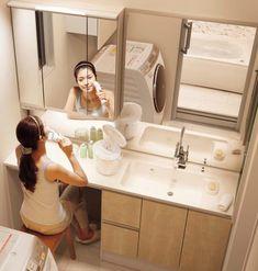 洗面には座れるスペースを | ゆんなのひとり言withおうちブログ Washroom Design, Bathroom Interior Design, Interior Design Living Room, Bathroom Spa, Laundry In Bathroom, Master Bathroom, Japanese Bathroom, Paint Colors For Living Room, Wet Rooms