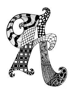 Zentangle Letter A Monogram In Black And White by Nan Wright