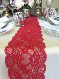Dark/ Red Lace/Table Runner/Weddings/2 yards by LovelyLaceDesigns, $12.50