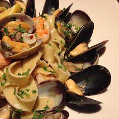 #TGSM Seafood Pasta- Housemade Tagliatelle, Mussels, Manila Clams, Shrimp, Lemon Juice, Parsley, White Wine Sauce