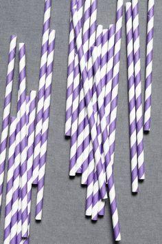 purple stripe straws - cute for wedding reception