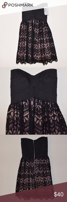 """New TRIXXI JUNIORS Black Pink Lace BUSTIER DRESS This is a Trixxi Juniors Sweetheart-Neckline Lace Bustier Dress. Size:1 Color: Black and Light Pink. MSRP: $79. NWOT. * Strapless * Sweetheart neckline * Empire waistline * Stretchy top * Lace overlay bottom * Pink lining  * Back Zipper * Self: 100% Polyester. Lining: 100% Polyester  * Hand wash * Imported  * Approx Measurements: Chest: 13"""". Pit to Hem: 27"""". Trixxi Dresses Strapless"""