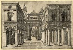 Object typeprint Museum number1939,0513.62 DescriptionA street with various buildings, colonnades and an arch: third version. 1480s? Engravi...