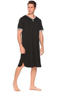 Men s Cotton Nightshirt Short Sleeve Sleep Shirt Loose Nightgown Sleepwear  Dress - Black - CY180G0OZGG eae1af1eb