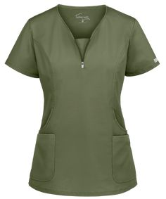 Look fitted and fashionable at work with the UA Butter-Soft STRETCH Curved Neck Zipper Scrub Top. Buy fabulous fashion scrubs at Uniform Advantage today! Scrubs Uniform, Scrubs Outfit, Scrub Jackets, Medical Scrubs, Scrub Tops, African Fashion Dresses, Fashion Outfits, Disney Scrubs, Professional Look
