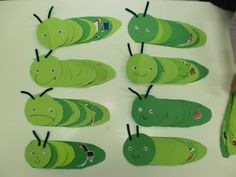 The very hungry caterpillar craft- cut green circles and then worksheet to show what the caterpillar ate each day- great sequencing/ order- of-events activity