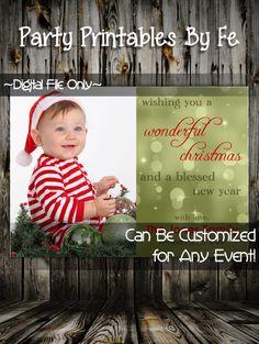 Printable Christmas Party Invitation or Card~ Photo Holiday Christmas Card ~ I44