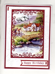Hunkydory frame and picture of pub and cyclists from the little books