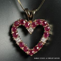 """See more #vintage #jewelry  #vintagejewelry on our website (link in bio!) #VINTAGE RED #RUBY & #DIAMOND HEART PENDANT 14K YELLOW GOLD 16"""" CHAIN NO RESERVE #Pendant"""