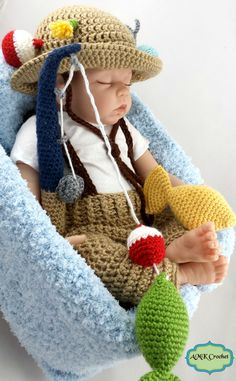 PATTERN Crochet Newborn Fisherman Hat and Suspenders by AMKCrochet