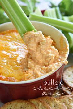 Buffalo Chicken Dip is warm, creamy, and loaded with cheese, chicken, and wing sauce.perfect for parties and ideal for game day tailgating! Buffalo Chicken Dips, Buffalo Chicken Dip Recipe, Chicken Recipes, Buffalo Dip, Buffalo Wing Dip Recipe Crock Pot, Appetizer Dips, Yummy Appetizers, Appetizer Recipes, Snack Recipes