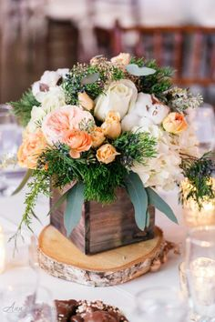 58 Ideas Wedding Winter Decorations Floral Arrangements For 2019 Winter Centerpieces, Rustic Wedding Centerpieces, Centerpiece Decorations, Floral Centerpieces, Wedding Decorations, Winter Decorations, Winter Floral Arrangements, Wooden Box Centerpiece, White Centerpiece
