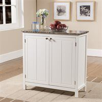 White Kitchen Island Cart white kitchen cart with granite top and locking casters wheels