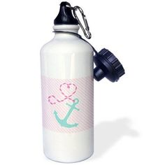 3dRose Cute Anchor and Heart Rope - Pink and Aqua, Sports Water Bottle, 21oz
