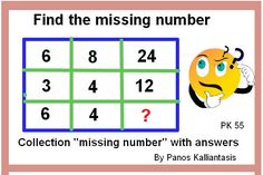 """Free on line practice of puzzles with solutions,for all competicion exams' Improve your math skills to solve math puzzles and manage questions """"Find the missing number"""" Logic Math, Missing Number, Maths Puzzles, Math Skills, Improve Yourself, Numbers, This Or That Questions, Free, Collection"""