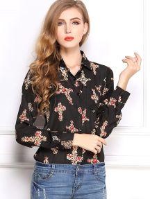 Black Fashion High Quality Long Sleeve Print Loose Chiffon Shirt