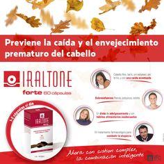Iraltone Forte es un complemento alimenticio formulado con una combinación de activos (LCistina, Glutation, Zinc, Cobre, Vitaminas B5 y B6) que regenera, previene el envejecimiento prematuro y la caída del cabello, aportando fuerza, volumen y vitalidad. Conoce Iraltone Forte visitando nuestra web http://www.ifc-spain.com/iraltone/forte-complemento-nutricional.html