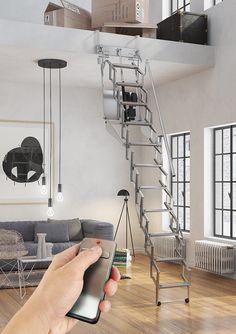 Escalera plegable y escamoteable automática para altillo Modelo Flexa Altillo Automática - Escaleras Enesca.es
