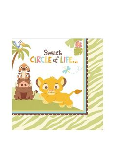 www.partycity.com Lion King Baby Shower Lunch Napkins 16ct 6 1/2in x 6 1/2in Napkins SKU: 474021 Our Price: $2.09