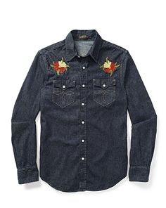 Shop Clothing for Men, Women, Children & Babies Denim Button Up, Button Up Shirts, Denim Shirt Men, Man Bun, Western Shirts, Jeans Style, Fashion Details, Mens Fashion, Clothes For Women