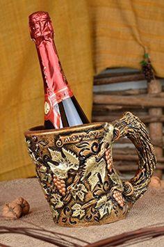 Decorative Handmade Holder For Wine Or Champagne Bottles In Form Of Ceramic Mug *** Visit the image link more details.
