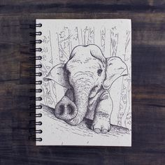 Introducing the first product to feature one of our friend Matt Mulford's designs! Students and non-students take note! These one-of-a-kind, eco-friendly, hardc Elephant Sketch, Elephant Art, Baby Elephant, Girl Drawing Sketches, Cool Sketches, Animal Drawings, Cute Drawings, Paper Making Process, Friends Sketch