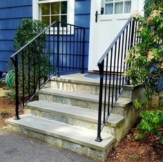 Wrought Iron Railing Source by salemfence. Stair Railing Parts, Outdoor Stair Railing, Front Porch Railings, Wrought Iron Stair Railing, Porch Stairs, Wrought Iron Beds, Stair Handrail, Exterior Stairs, Wrought Iron Fences
