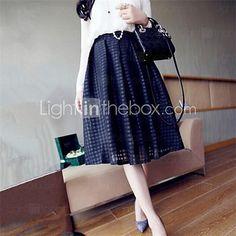 Women's Sexy/Casual Inelastic Medium Midi Skirts (Cotton Blends) - USD $6.99