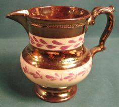 ANTIQUE COPPER LUSTRE CREAMER PITCHER ENGLAND #unknown #unknown Antique Copper, Tea Set, Bristol, Luster, Flow, Porcelain, England, Ceramics, Antiques
